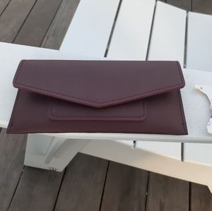 Red leather pouch/wallet with single snap closure